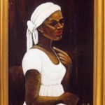 "woman with her head wrapped after receiving a Rogacion de Cabeza. (Painting is ""Woman in a White Turban"" by the artist Madge Scott)"